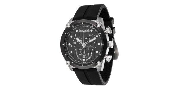 Pánske oceľové hodinky s tmavým ciferníkom a silikónovým remienkom Lancaster