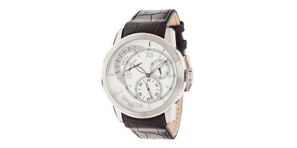 Pánske hodinky s bielym ciferníkom a koženým remienkom Lancaster