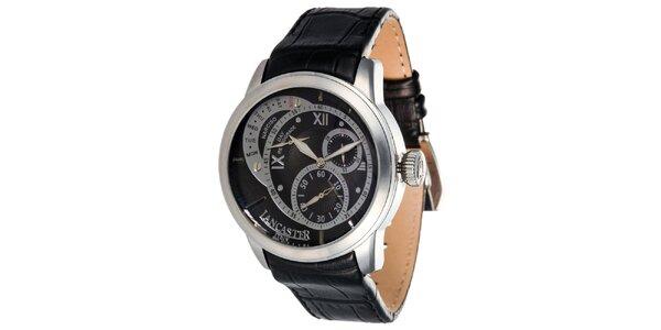 Pánske hodinky s čiernym ciferníkom a koženým remienkom Lancaster