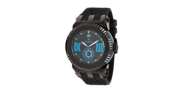 Pánske čierne hodinky s modrými prvkami Lancaster