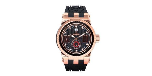 Pánske čierne hodinky s prvkami ružového zlata Lancaster