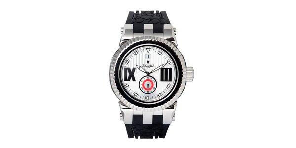 Pánske strieborno-čierne hodinky Lancaster