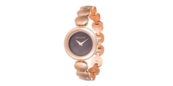 Dámske minimalistické hodinky v tóne ružového zlata Lancaster
