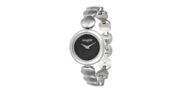Dámske minimalistické strieborné hodinky s tmavým ciferníkom Lancaster
