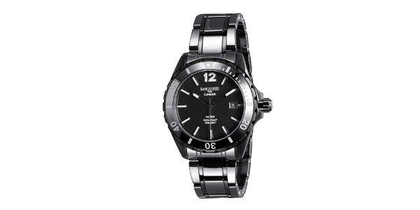 Dámske čierne keramické hodinky s dátumovkou Lancaster