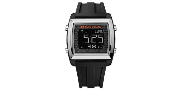 Pánske digitálne hodinky s čiernym remienkom Hugo Boss
