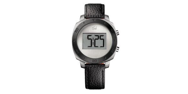 Guľaté digitálne hodinky s čiernym remienkom Hugo Boss Orange