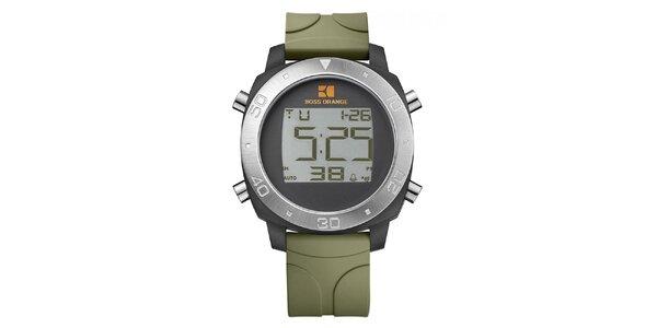 Pánske digitálne hodinky so zeleným remienkom Hugo Boss Orange