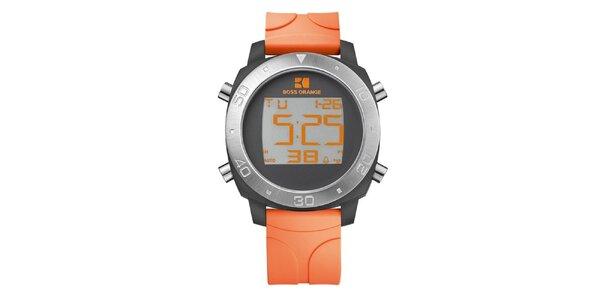 Pánske digitálne hodinky s oranžovým remienkom Hugo Boss Orange