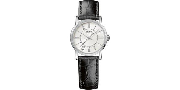 Dámske guľaté analógové hodinky s koženým remienkom Hugo Boss Orange