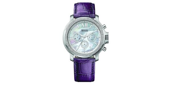 Dámske hodinky so zirkónmi a fialovým remienkom Hugo Boss Orange