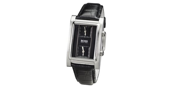 Pánske čierne hodinky s hranatým tmavým ciferníkom Hugo Boss