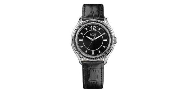 Dámske strieborné hodinky s čiernymi kryštálikmi Hugo Boss Orange