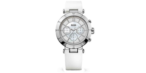 Dámske oceľové hodinky s chronografom a bielym remienkom Hugo Boss