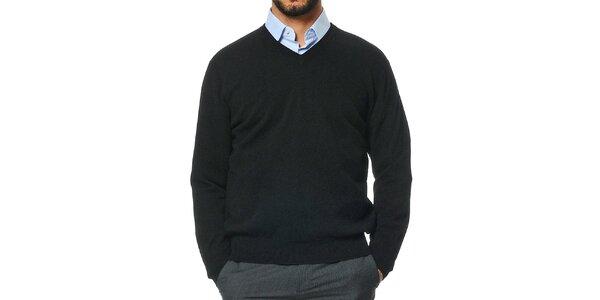 Pánsky čierny kašmírový sveter s véčkovým výstrihom Uomini Italiani