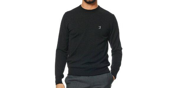 Pánsky čierny sveter z merino vlny Uomini Italiani
