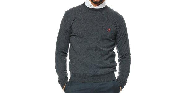 Pánsky antracitový sveter z merino vlny Uomini Italiani