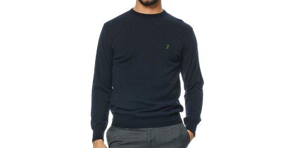 Pánsky tmavomodrý sveter z merino vlny Uomini Italiani
