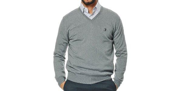 Pánsky šedý sveter s véčkovým výstrihom z merino vlny Uomini Italiani