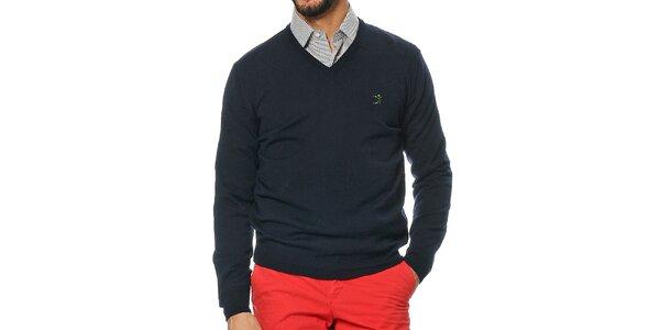 Pánsky tmavo modrý sveter s véčkovým výstrihom z merino vlny Uomini Italiani