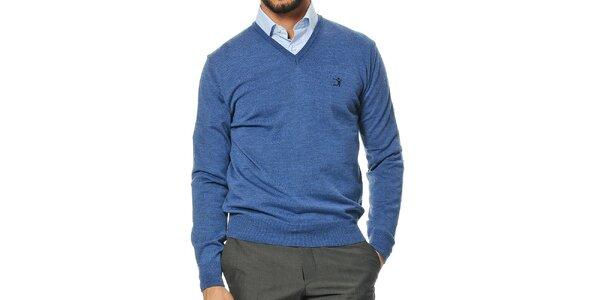 Pánsky modrý sveter s véčkovým výstrihom z merino vlny Uomini Italiani
