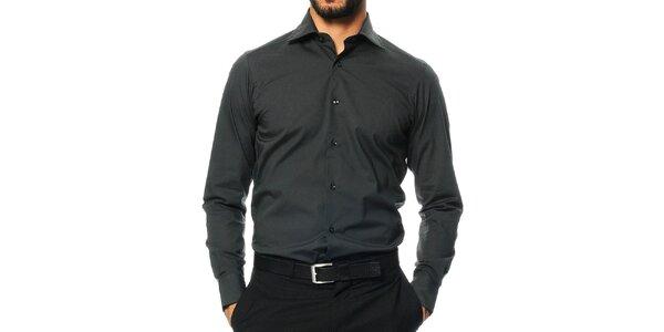 Pánska tmavo šedá košeľa s dlhým rukávom Uomini Italiani