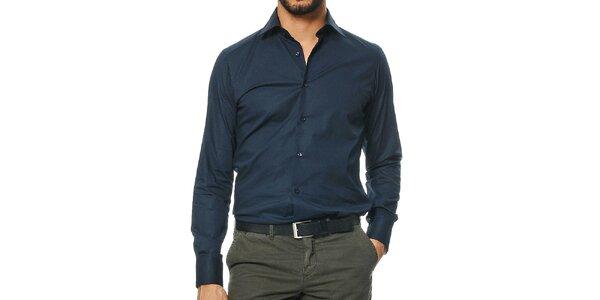 Pánska tmavo modrá košeľa s dlhým rukávom Uomini Italiani