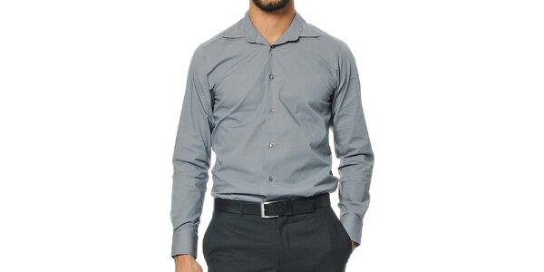 Pánska šedá košeľa s dlhým rukávom Uomini Italiani