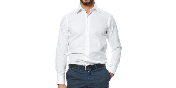 Pánska biela bavlená košeľa Uomini Italiani