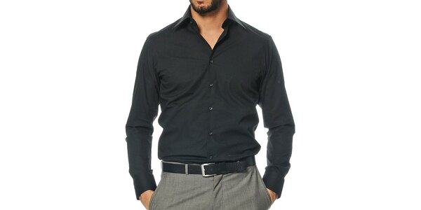 Pánska čierna košeľa s dlhým rukávom Uomini Italiani