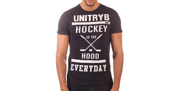Pánske čierne tričko s krátkym rukávom Unitryb