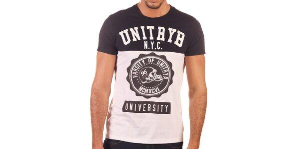 Pánske čierno-biele tričko s potlačou Unitryb