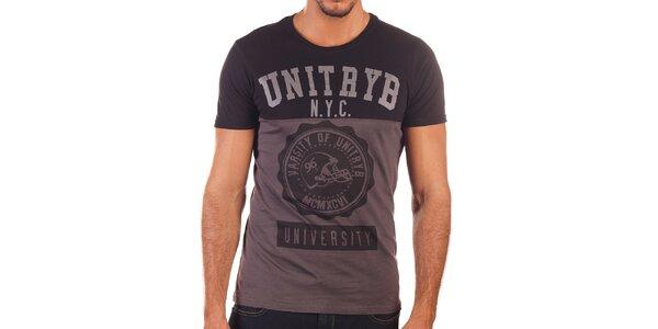 Pánske dvojfarebné tričko s potlačou Unitryb