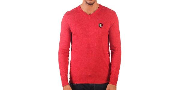 Pánsky červený sveter s véčkovým výstrihom Unitryb