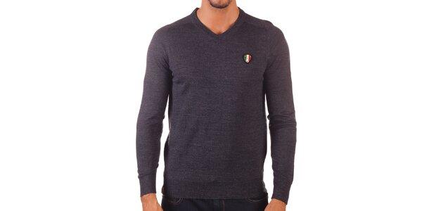 Pánsky tmavo šedý sveter s véčkovým výstrihom Unitryb