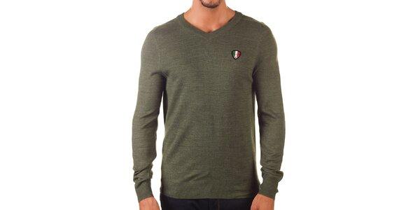 Pánsky khaki sveter s véčkovým výstrihom Unitryb