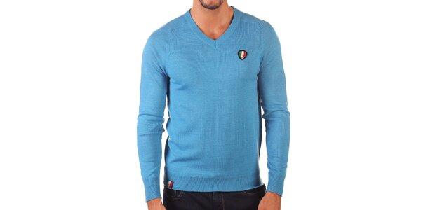 Pánsky svetlo modrý sveter s véčkovým výstrihom Unitryb