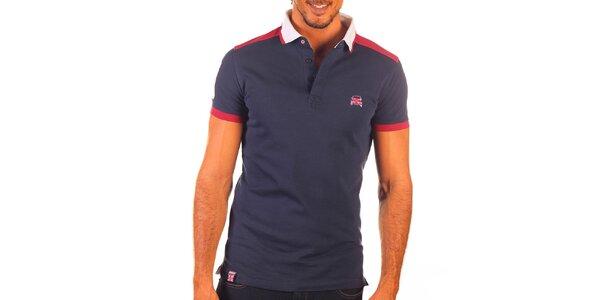 Pánske modré polo tričko s bielym límčekom a červenými prvkami Unitryb