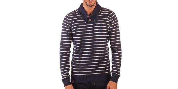 Pánsky tmavo modrý sveter s bielymi prúžkami Unitryb