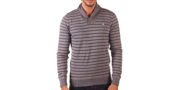 Pánsky šedý sveter s vodorovnými prúžkami Unitryb