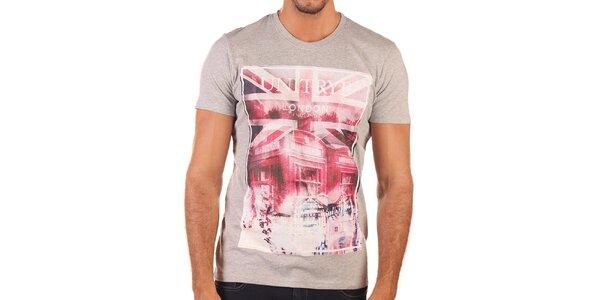 Pánske šedé tričko s britským motívom Unitryb