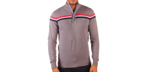 Pánsky šedý sveter s kontrastnými pruhmi a zapínaním na zips Unitryb