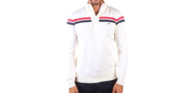 Pánsky sveter s kontrastnými pruhmi a zapínaním na zips Unitryb