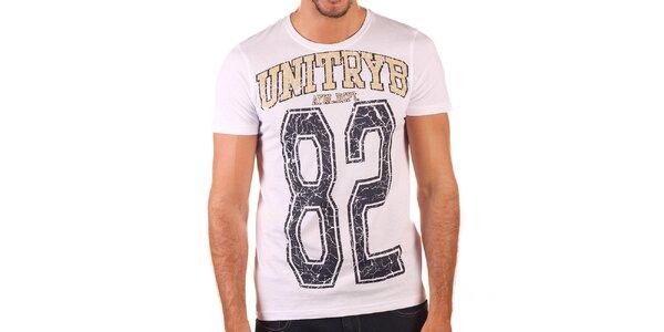 Pánske biele tričko s potlačou Unitryb