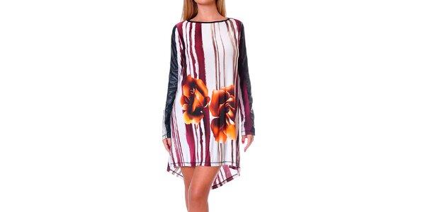 Dámske ľahké vzorované šaty s oranžovými kvetmi Avangard