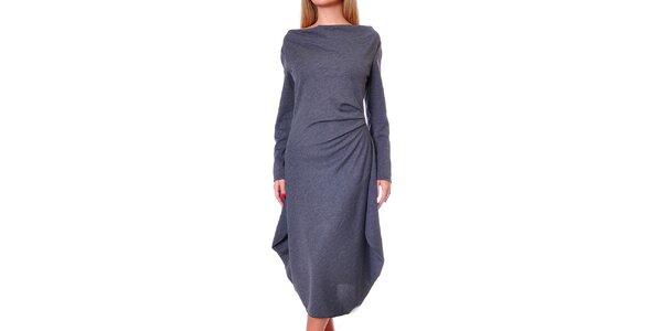 Dámske šedé šaty s voľnou sukňou Avangard