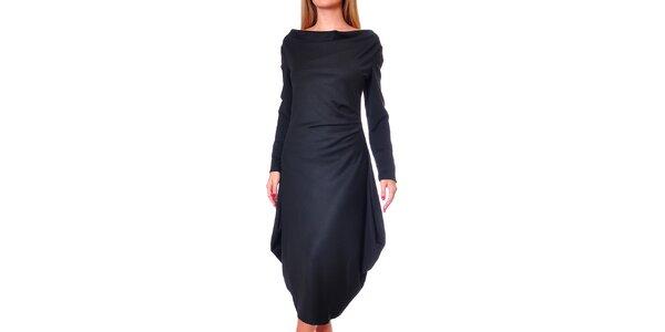 Dámske čierne šaty s voľnou sukňou Avangard