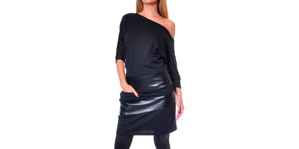 Dámske čierne šaty so spadnutým ramenom Avangard