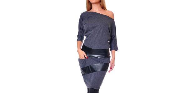 Dámske šedé šaty so spadnutým ramenom Avangard