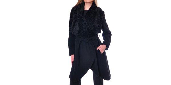 Dámsky čierny kabátik s kožúškom Daka